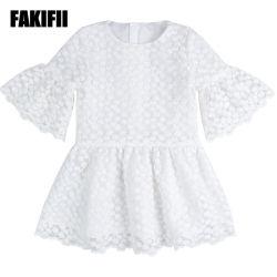 Nouveau design de gros de vêtements de mode d'usure pour les enfants Les enfants fille robe enfant blanche Maille de broderie Vêtements d'été