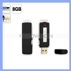 Pilha recarregável Mini 2 em 1 unidade Flash USB de 8 GB com gravador de Voz Digital de Áudio