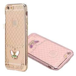 Le papillon de la galvanoplastie TPU Cas avec Dimond pour iPhone