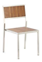 Sedia da pranzo in legno di teak in acciaio inox