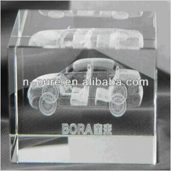 Cube optique 3D GRAVURE DE CRISTAL