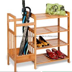 4 niveles naturales de zapatos de madera Multi-Fuction Rack con paraguas y botas Mostrar bandeja de almacenamiento