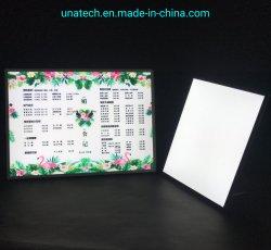 2019 en el interior innovador A1 A2 A3 A4 con retroiluminación de la publicidad material de película, armazón de aluminio Panel de Cristal de luz LED de la inserción de la imagen de verificación con la Plata, Negro o Color Oro