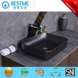 Preto fosco Lavatório Banheiro Bancada Cerâmica Lado Lavar Loiça Bc-7034K-1