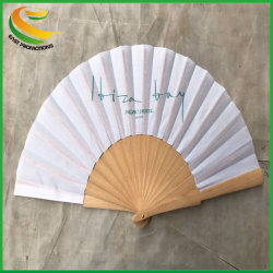 Logo personnalisé imprimé main pliage de papier personnalisé les fans de bambou