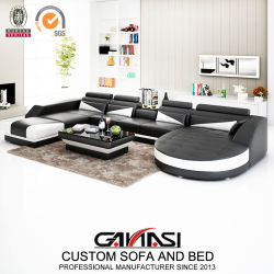 Italia Moderna casa en forma de U Ocio dobles confortables sillones Muebles de salón sofá de cuero (G8018)