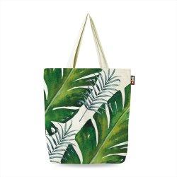 Personalizar el diseño creativo de la imagen de hoja verde de embalaje Compras Tote manejar la reutilización de Dama 100% algodón