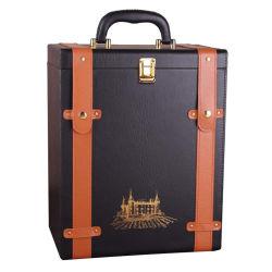 휴대용 PU 가죽 와인 병 박스 여행 와인 레드 와인 샴페인 스토리지 선물 패키지