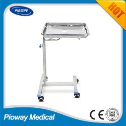 Hospital Medical roestvrijstalen mobiele Mayo-trolleylade (PW-709)