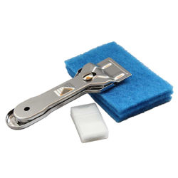 La limpieza de estropajos de acero inoxidable y limpiar el rascador