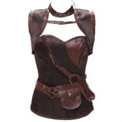 Commerce de gros nylon/spandex fausse lumière Femmes Mûres Steampunk corset