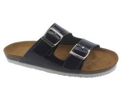 L'été Fashion tendance en cuir synthétique Mesdames Double-Buckle chaussures plates