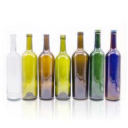 中国の製造所の供給750mlのガラスボルドーのワイン・ボトルのFlat-Bottomedコルクの終わり- 12ゆとりの場合