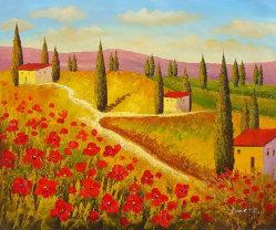 Pays chemin côté fleur rouge Green Tree déposée pour la maison de Peinture décoration d'huile (LH-359000)