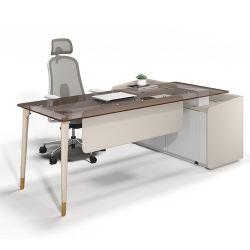 أثاث المكاتب المنزلية Brown Glass Executive Office Table