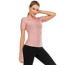 2020 Nueva camiseta de manga corta de alta calidad Malla cuello V Active Wear desgaste Yoga