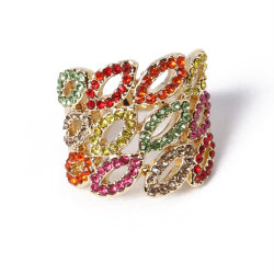 Nuovo Stile Fashion Jewellery Colorato Rhinestones Gold Ring