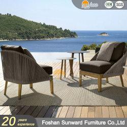 現代屋外の庭のSunward編まれた卸し売りホテルのホームリゾートの別荘のプロジェクトロープFscのチークの木製のソファーの家具