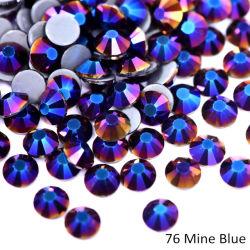 Kingswick nueva mina de cristal azul Hotfix Rhinestones plancha sobre el plano de vuelta Rhinestones Motif Strass para transferencia de tejido
