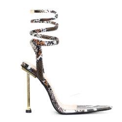 패션 여성용 신발 스트랩 여성용 신발 여성용 메탈 하이힐 여성용 Lace Up 샌들