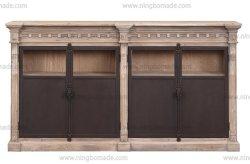 País de luxo madeira rústica Vintage clássico mobiliário de estilo antigo Gray valorizadas Pine Buffet lateral de metal