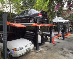 Garagem para dois carros 4 Post Plataforma Dependente do nível de Elevação Hidráulico de Estacionamento simples Levante