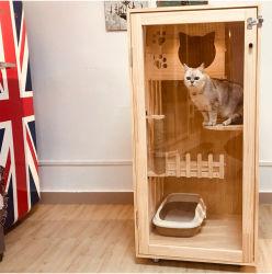 ペット純木猫の家のケージ贅沢な木製ペット猫の家