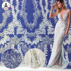 Muy buena calidad de lentejuelas lentejuelas de flores de encaje bordado para vestido de novia