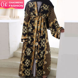 Dubai Design impresso sensação macia Kaftan vestido muçulmano de Manga Longa aberta e sedosa Abaya Jantes Kimono Vestuário Islâmico Cardigan