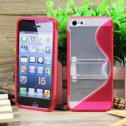 غطاء علبة بريد TPU Gel Clear Hybrid الملونة مع حامل تحرير لجهاز Apple iPhone 5 5 غ
