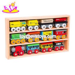 최고 수집 아이들 W04A370를 위한 자석 나무로 되는 장난감 엔진 열차