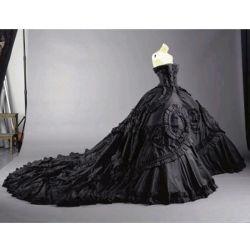 Vestido nupcial negro sin tirantes de la alineada de boda de la catedral del tafetán de Sext (W189)
