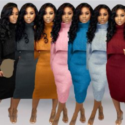 Dernière mode 2021 automne chaud hiver robes femmes Turtleneck Vêtements pour femmes ensemble de deux pièces robes de chandail