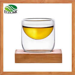 Copo de vidro de parede dupla criativa com bambu Coaster