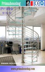 Étapes de l'intérieur en verre feuilleté trempé escalier en spirale
