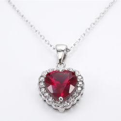 De Alta Calidad personalizada de Joyas de piedras preciosas plata esterlina 925 joyas collar con forma de Corazón Collar de corindón