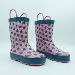 여아용 실외용 비부츠 방수 고무 부츠 핑크 앤 그레이 사랑스러운 하트 디자인