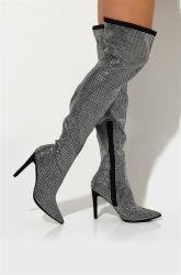 Sobre o joelho Rhinestone Coxa Stiletto Boots Sexy Longo botas para Mulheres