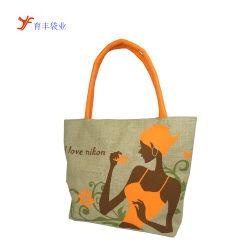 Пропагандистские печатные женская сумка джута ручку торгового характера джута мешок