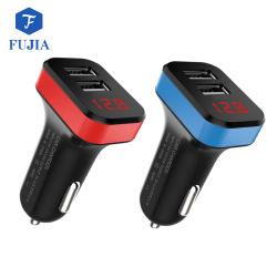 Chargeur de voiture double USB avec votre logo et la bague LED, micro chargeur de voiture double USB universel