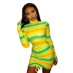 L284732 Night Club Hot Sale Lady occasionnels de haute qualité Haute cou Mini robe imprimée