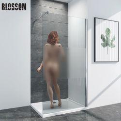 Sala húmeda caminata en la ducha de vidrio esmerilado de la puerta de la pantalla de cuarto de baño