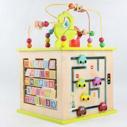 Função de vários mini educacionais bricolage Abacus Maze Cordões Kids atividade de madeira Cube Toy