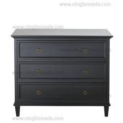 Vinatge français de meubles en bois noir solide trois tiroirs de la poitrine