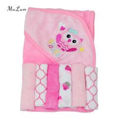 두건 형식 OEM 주문 귀여운 아이 만화 대나무 두건이 있는 아기 수건을%s 가진 100%년 면 아기 동물성 수건