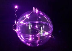 مستديرة واضحة عيد ميلاد المسيح عرس زخرفة كرة مع [لد] ضوء