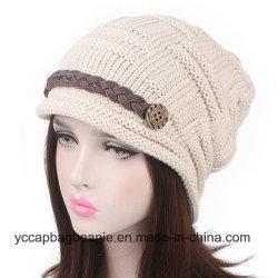 Winter-Woolen strickende Schutzkappe der stilvollen Plicate sackartigen Beanie-Frauen