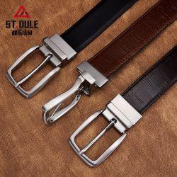 La conception personnalisée hommes d'affaires en alliage de zinc de ceinture en cuir de la broche de tourner la boucle de ceinture en cuir de vache de fractionnement de la courroie du fabricant de gros