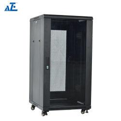 AzeのセリウムのRoHSの証明27u 600mmの深く立つデータセンタネットワークキャビネット、前部ガラスドア及び後部固体ドアおよび側面パネルをロックする