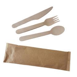 Venta caliente grueso madera de abedul Cuchara/Tenedor/cuchilla utensilio de madera cubiertos desechables cubiertos Set